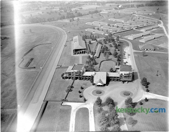 Keeneland race course, just before the beginning of the Fall meet, October 4, 1947. In the foreground is the clubhouse while the grandstand is shown in the center.