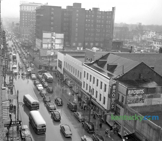 Traffic in Lexington on Main Street looking east in March of 1951.