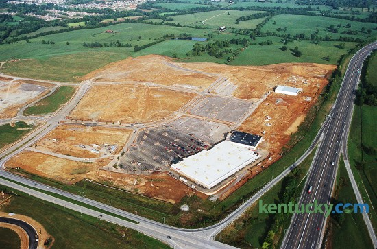 Aerial view of the Target store being built at Hamburg Place on Man O' War and I-75,  September 22, 1997. I-75 is running top to bottom on the right side while Man O' War is left to right  at bottom.