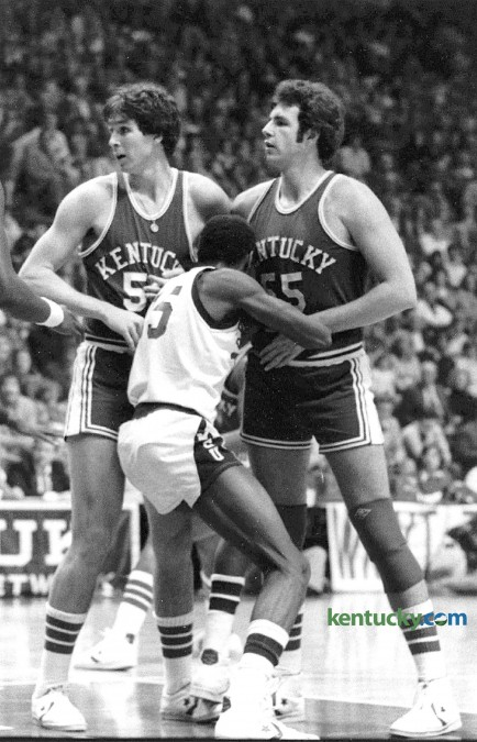Kentucky's Rick Robey and Mike Phillips block the path of a Mississippi St. player March 8, 1976 during the final game in Memorial Coliseum for the UK men's basketball team. Photo by Frank Anderson, Herald-Leader staff.