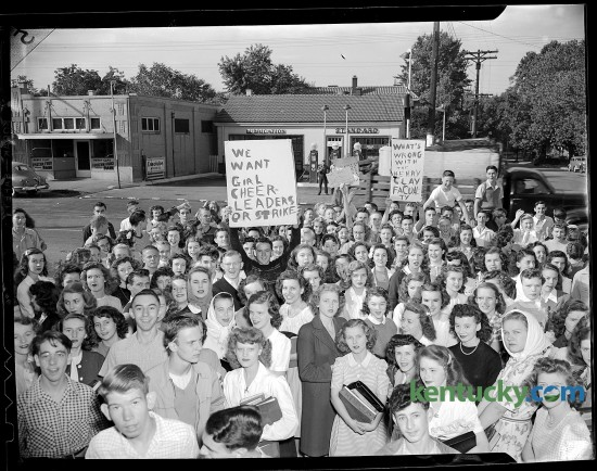 Students congregated outside Henry Clay High School in order to demonstrate their desire to have girl cheerleaders. 9/18/1946