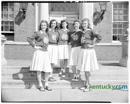 Group portrait of Henry Clay High School's first girl cheerleaders. Left to right, Doris Walker, Betty Peck, Edie McLendon, Patty Wilkinson, and Faye Fitzgerald. ****10/3/1946***on Page A.285