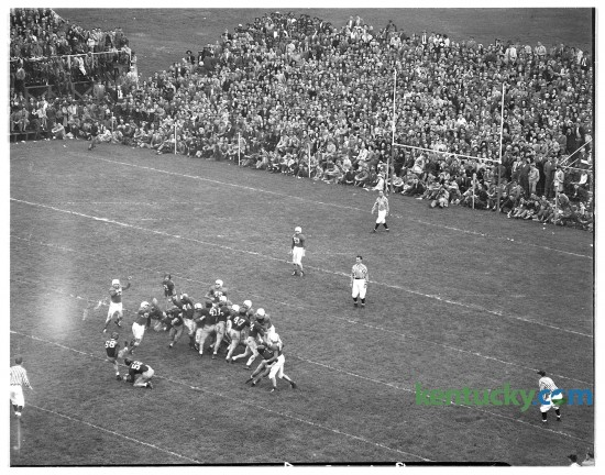 A scene from University of Kentucky football's  13-0 loss to Alabama, Nov. 1947 at Stoll Field. For 48 years the Cats called Stoll Field home, until they moved into Commonwealth Stadium in 1973. Stoll Field was across the street from Memorial Coliseum.