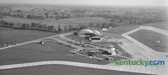 Aerial view of Blue Grass Airport,  January 1951.