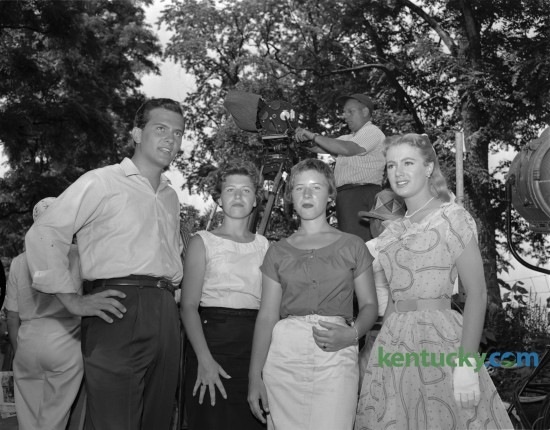 The movie April Love, was filmed in Lexington in 1957.  Stars Pat Boone, left and Shirley Jones, right, were photographed with Lexington's, Dorothy (Dedee) Leet and Carol Leet. Published in the Lexington Leader June 17, 1957.