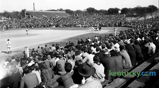 The baseball field at the University of Kentucky's Stoll Field played host to an exhibition game between the Cincinnati Reds and Boston Red Sox April 9, 1946. It was the first game ever played there by two major-league teams. Cincinnati won 4-2. The crowd was estimated at 7,000-8,000.