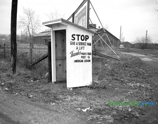 A shelter, one of five placed on main highways out of Lexington, erected by the Man O' War post of the American Legion, for convenience of servicemen hitchhiking. Nov. 1944