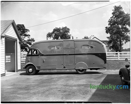 A horse van at Calumet Farm, July, 1944. The farm started in 1924 and became an icon of Thoroughbred breeding and racing. During the farm's heyday, from the 1940s through the 1960s, Calumet horses won eight Kentucky Derbys and two Triple Crowns.
