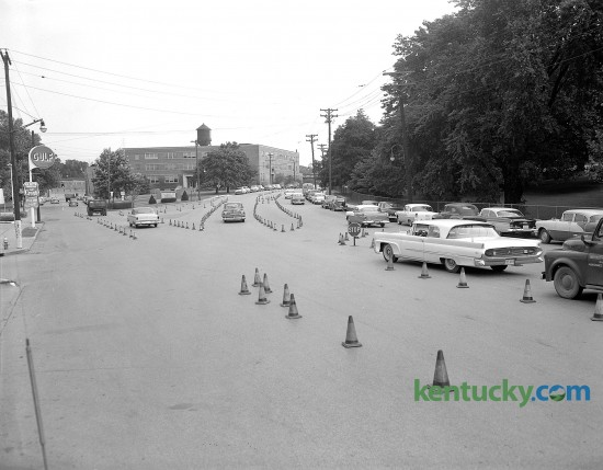 Safety test patterns set up July 11, 1958 by the traffic department at intersection of South Upper and South Limestone. To the right is Adminstration Dr., which leads to the main gate at the University of Kentucky. Note that to the left, traffic on South Upper is going two-way.