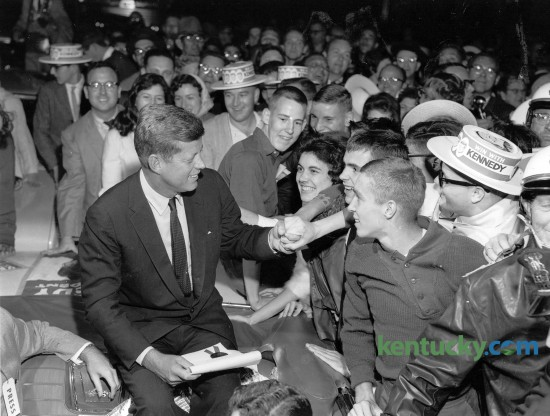 """Democratic presidential candidate Sen. John F. Kennedy made a campaign stop in Lexington in 1960. In his hand is a proclamation that made Oct. 8, 1960, """"John Kennedy Day"""".  Kennedy won the presidential election a month later."""