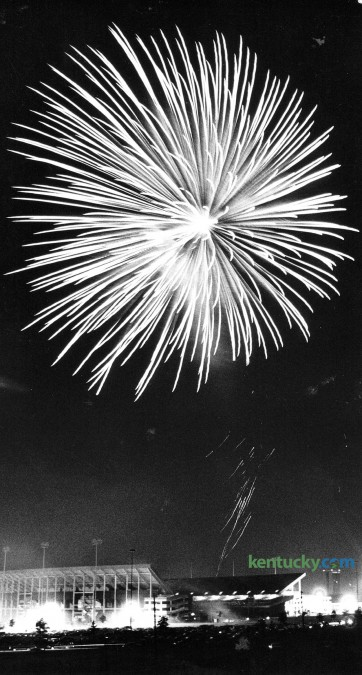 Fireworks above Commonwealth Stadium in Lexington July 4, 1979. Photo by Charles Bertram Herald-Leader staff