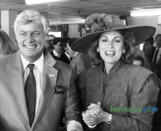 Former Kentucky Governor John Y. Brown and his wife Phyllis George Brown at the 1986 Kentucky Derby at Churchill Downs in  Louisville, Ky. May 3.