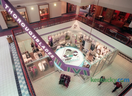 The Kentucky Thoroughblades opened a store in The Shops at Lexington Center downtown in March, 1996. The store had a giant hockey stick reaching up for three floors in the civic center shops as well as a hockey puck shaped sign. The  Thoroughblades were a minor-league professional ice hockey team in the American Hockey League from 1996 to 2001. They played their games in Rupp Arena. Charles Bertram, Herald-Leader staff