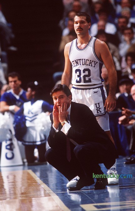 Rick Pitino coaching his first game at UK against Ohio. Behind Pitino is  Richie Farmer. The Wildcats won 76-73 and finished the season 14-14, 10-8 in the SEC. Photo by Charles Bertram, staff