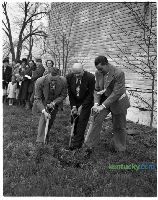 Reverend James Florence, left,  Reverend A.R. Perkins and Paul Stephens broke ground for planned improvements at the 111 year-old Mount Zion Methodist Church. Published in the Lexington Leader April 20, 1950.