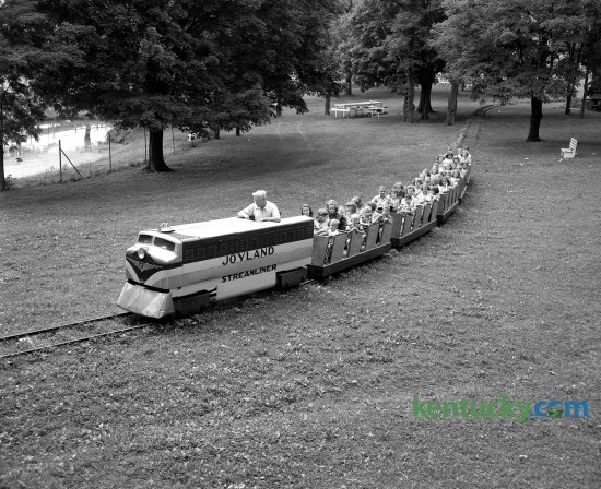 A group of orphans received a ride on the miniature train at Joyland Park in Lexington in August of 1950. Joyland Park was the best known park in the Bluegrass and operated from 1923-1964. Published in the Herald-Leader August 16, 1950.