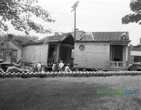 Workmen had to saw this house in half in order to move it from 307 North Limestone Street to a lot on Roosevelt Blvd in 1950. Published in the Lexington Herald May 27, 1950.
