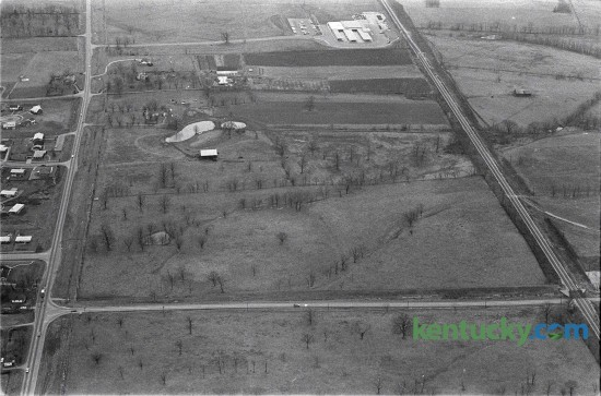 Aerial view of future Fayette Mall site January 19, 1967. Sixty acres of this land with frontage on Nicholasville Road , left, and Reynolds Road, near the bottom of the photo,  was the John  Shillito Company's selection for the site of its first Kentucky department store.