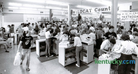 In late August in 1982 University of Kentucky students returned to campus for the fall semester. Students crowded the Kennedy's Bookstore on South Limestone on August 24, 1982. Photo by Gary Landers
