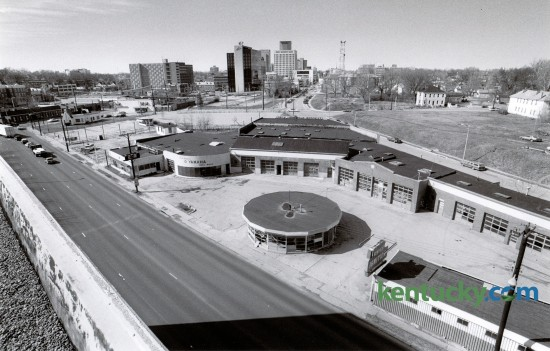 In February 1990 plans were announced for a new downtown park to be built on this site along Midland Avenue and Main Street. Various used car lots and auto repair shops had occupied this block. The new park became Thoroughbred Park, developed by The Triangle Foundation. Photo by Clay Owen