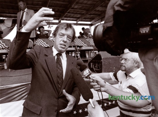 Lexington attorney Gatewood Galbraith talked with reporters before his speech at the 110th Fancy Farm Political Picnic at St. Jerome's Church in Fancy Farm, Ky., August 4, 1990. Photo by Charles Bertram | Staff