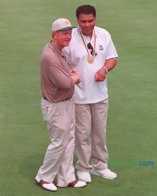 Jack Nicklaus and Muhammad Ali posed for photographers during the 78th PGA Championship at Valhalla Golf Club in Louisville August 8, 1996. Course designer and five-time champion Jack Nicklaus missed the cut by a single stroke at age 56. Photo by Michelle Patterson | Staff
