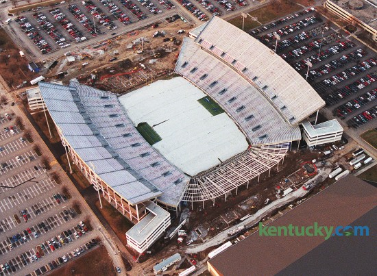 Commonwealth Stadium expansion in Jan. 1999 as both endzones enclosed. Also added were 40 suites, 10 in each corner of the stadium. The expansion, whcih cost $27.6 million, also included new video boards, new scoreboards and additional restrooms and concession stands. It also raised seating capacity to 67,942. Since the 1999 expansion, the Wildcats have averaged 64,828 fans per game. Photo by Charles Bertram | Herald-Leader staff