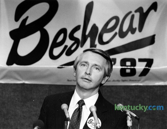 Steve Beshear announcing his run for Governor of Kentucky at Blue Grass Airport in Lexington, Feb. 3, 1987. Beshear was Lt. Gov. when he announced he was running for the state's highest office. He came in third in a five-candidate, Democratic primary and stepped away from politics to practice law. In 1996 he challenged Mitch McConnell for Kentucky's U.S. senate seat but lost. In 2007 he beat Ernie Fletcher in the race for governor and was elected to a second term in 2011. Due to term limits he is not eligible to run again for governor.