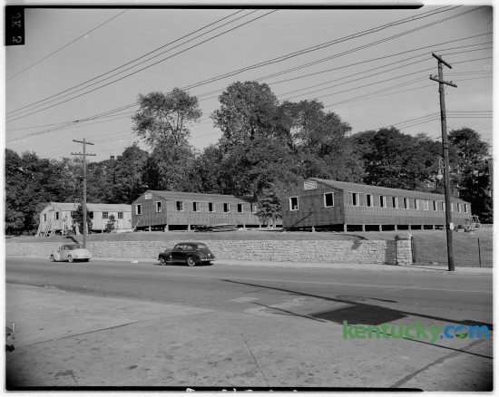 In September of 1946 temporary barracks-style housing was set up for in coming University of Kentucky students at the corner of South Limestone Street and Euclid Avenue. Published in the Lexington Herald September 20, 1946.