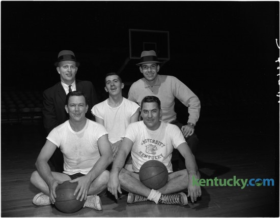 From a preview of the Press-Radio-TV basketball game that was held annually in Memorial Coliseum in 1960. These are members of the Radio-TV basketball team; front row,  Claude Sullivan, Hugh Jones, center, Jack Lori, back row, Jim Host, and Earl Boardman. Absent from the picture were Wah Wah Jones, Buzz Riggins, and Dick Roy. Published in the Lexington Herald December 31, 1960.