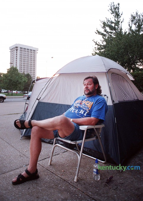 Wally Clark, also know as Wildcat Wally, began his three week-long campout Sept. 27, 1997 in front of Memorial Coleseum for tickets to UK basketball's Midnight Madness. Clark had his streak of campouts end at 18 years when he was a no-show in 2010 because of health problems. He had been first in line for Madness tickets several times. One year, he camped out for 39 days to make sure he was first in line. Photo by Sam Haverstick