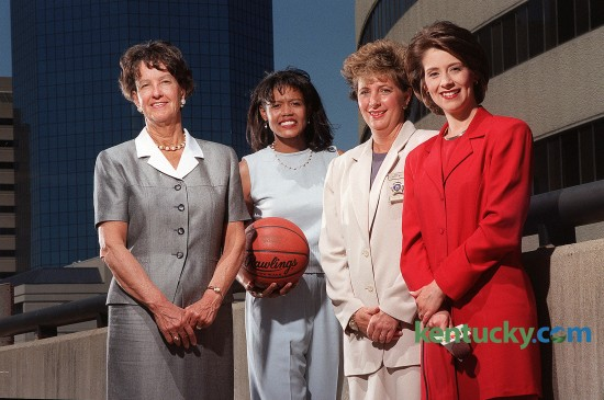 Lexington Mayor Pam Miller, left, UK Women's Basketball Coach Bernadette Mattox, Fayette County Sheriff Kathy Witt, and WLEX News Anchor Nancy Cox photographed in Lexington on May 7, 1999. This photo went with a story about how high-profile moms juggle their public and private lives. Photo by David Stephenson | staff