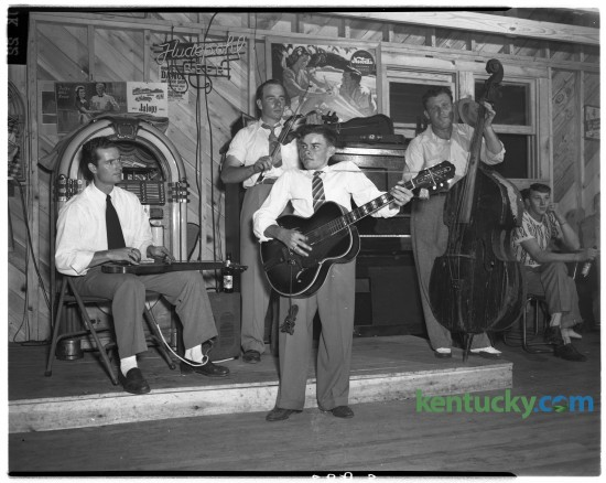 An unidentified country band played for a group of Clark County square dancers in 1948. The dancers were competing for the right to represent Clark County at the Kentucky Press Association sponsored day at Joyland Park for the benefit of crippled children. This is an unpublished photo from August 1948.