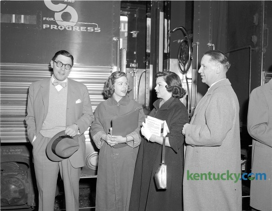 "Actress Judy Garland, second from right, arrives at Lexington's Union Station April 28, 1953. The actress and singer, known for her role as Dorthy in ""The Wizard of Oz"", was in Lexington to perform in a show at Memorial Coliseum as part of Blue Grass Festivals, Inc. pre-Derby attractions. While in Lexington, the actress, Described by Fred Astaire as ""the greatest entertainer who ever lived"", visited children at Shriners Hospital. With her are Lexington Mayor Pro Tem Fred E. Fugazzi, Miss Ann Powell and Hugh Meriwether, president of Blue Grass Festivals."