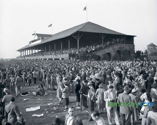 On Saturday October 15, 1949 a crowd of 11,446 people arrived to watch the races at Keeneland's Fall Meet. The grandstands were taken two hours before the first race. Published in the Herald-Leader October 16, 1949.