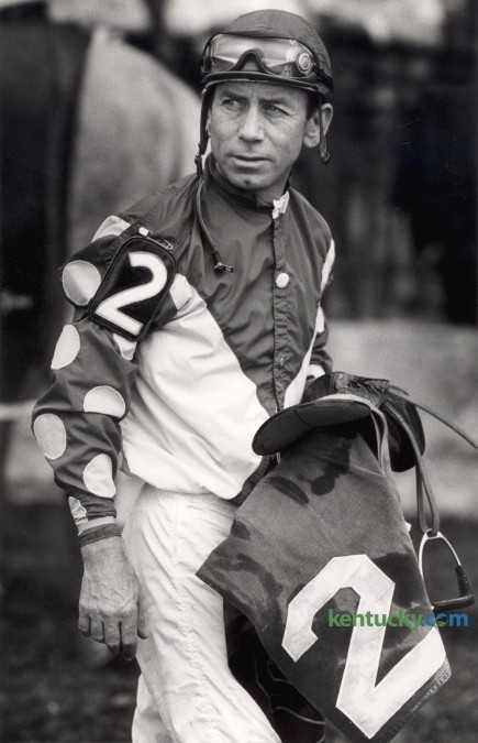 Jockey Don Brumfield looked toward the tote board as he left the winner's circle after riding Free Force to victory in  The Big Sink at Keeneland Race Course October 10, 1984. In 1984 Brumfield won his sixteenth and final title as leading jockey at Keeneland.  During his thirty-five-year career, Brumfield won 4,573 races in 33,222 rides. He retired from racing in 1989. He rode Kauai King to victory in the 1966 Kentucky Derby. He was inducted into the National Museum of Racing and Hall of Fame in 1996. Ron Garrison | Staff