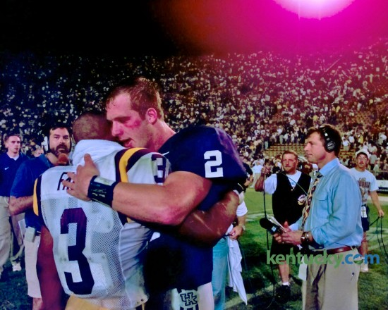 LSU running back Kevin Faulk, left, congratulated Kentucky quarterback Tim Couch after the Cats defeated LSU,  39-36, on the road on Oct. 17, 1998. It's the last time that Kentucky has won at the stadium known as Death Valley. LSU leads the overall series with 39 wins to Kentucky's 16 wins. There was one tie, in 1953.  Photo by Frank Anderson | Staff