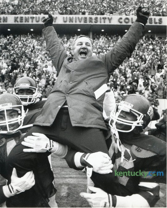 Coach Roy Kidd got a ride to the locker room after his Eastern  Kentucky Colonels earned their fourth straight trip to the NCAA  Division I-AA football championship game with a 13-7 victory over  Tennessee State at EKU's stadium in Richmond, KY on December 11, 1982.   Photo by Charles Bertram | Staff