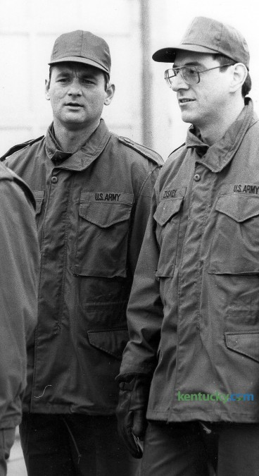 Bill Murray, left, and Harold Ramis, right, during the filming of the movie Stripes at Fort Knox, Ky., Tuesday, November 26, 1980. Murray played Pvt. John Winger and Ramis played Pvt. Russell Ziskey in the movie which was released in 1981. Ramis died Feb 24, 2014 at the age of 69. Photo by Charles Bertram | Staff