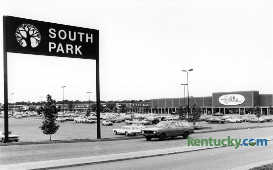 South Park Shopping Center, July 1979, at the intersection of Nicholasville and New Cirlce Rd. in Lexington. The Hills department store is now an Office Depot and Bed Bath and Beyond. Allied Sporting Goods, C&H Rauch Jewelers and a Kroger grocery store were also located in the shopping center at this time of this picture. Photo by David Perry | staff