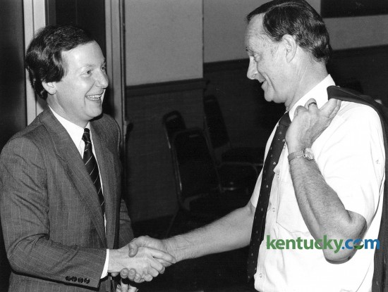 Jefferson Co. Judge-Executive Mitch McConnell shakes hands with Biff Lowery, a member of the Lexington Rotary Club Oct. 18,1984. McConell was running for what would be his first term in the U.S. Senate. Photo by Frank Anderson | staff