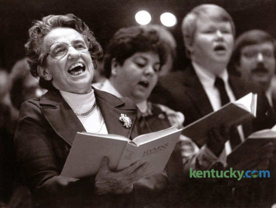 """Marian Searcy of Mt. Washington,  sang the hymn """"I Heard the Voice of Jesus Say"""" during the opening session of the Kentucky Baptist State Evangelism Conference February 25, 1985, held at the Immanuel Baptist Church in Lexington. Photo by David Perry 