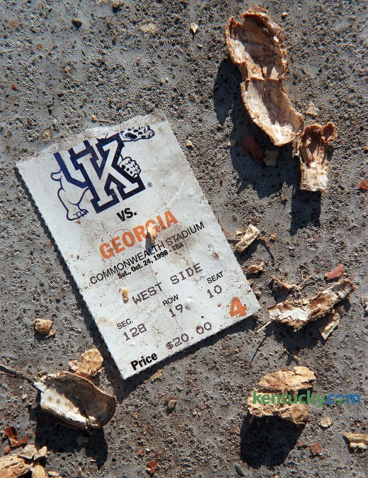 A ticket stub on the ground at Commonwealth Stadium after the Kentucky-Georgia football game Oct. 24, 1998. Note the price on the ticket - $20. The price on a ticket for this years UK-Georgia game? $50. Photo by Charles Bertram | staff