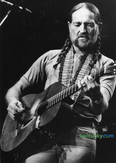 Country music singer Willie Nelson performing at Rupp Arean May 13, 1979. The concerty that night also included Waylon Jennings, Emmy Lou and Leon Russel. Nelson has played Rupp Arena seven times, including four years in a row from 1977-80. His last apparence at Rupp was in 2000 with the Dixie Chicks, Patty Griffin, Ricky Skaggs and Vida & Joe Ely. Photo by Christy Porter | staff
