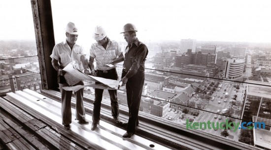 In June of 1978 most of the steel was in place for Kincaid Tower, a 22 story office building in downtown Lexington. Construction superintendent Scotty Wilson, left, Roy Cooper, general foreman and Kenny Carter, foreman looked over a set of plans with the Lexington skyline in the background. The contractor for the 421,000 square foot tower were Huber, Hunt, Nicholas, Inc. out of Indianapolis. The building was completed in 1979 at a cost of $20 million and was the tallest building in central Kentucky for the next 8 years. The building became the headquarters for Kentucky Central Life Insurance. I also housed Central Bank and Trust, WVLK Radio and Kentucky Finance Company. Photo by Ron Garrison | Staff