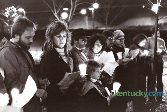 Members of St. Peter Catholic Church held a candlelight vigil for peace in a downtown Lexington Park on December 31, 1984. Photo by John C. Wyatt | Staff