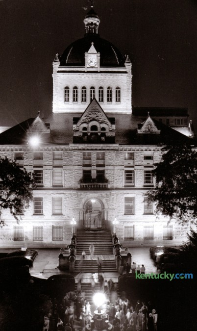 New exterior lighting was installed to illuminate the Fayette County Courthouse in August of 1989. People gathered during the evening of August 23 for the dedication of the new lighting. Photo by Alan Lessig