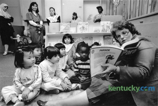 Samuella Lepter, director of the day care center operated by Calvary Baptist Church, read to a class of pre-schoolers November 8, 1989. In the background some parents waited and listened. The day care center was celebrating it's 20th anniversary and was preparing for a renovation and expansion of it's facilities. Photo by Michael Malone | Staff