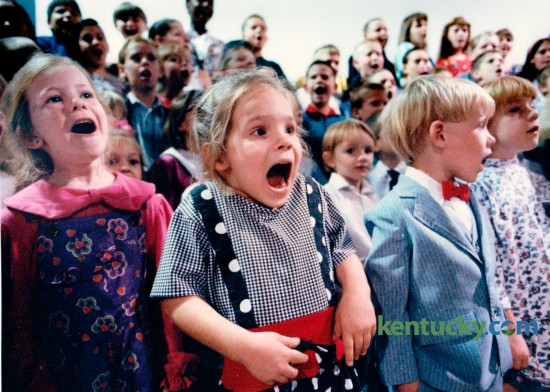 Four-year-old Amanda Moore from Prattville, Ala., second from left, rehearsed with about 200 other children in the choir prior to the Worldwide Church of God 1994 Feast of Tabernacles at Heritage Hall in Lexington, September 21, 1994. Photo by Charles Bertram | Staff
