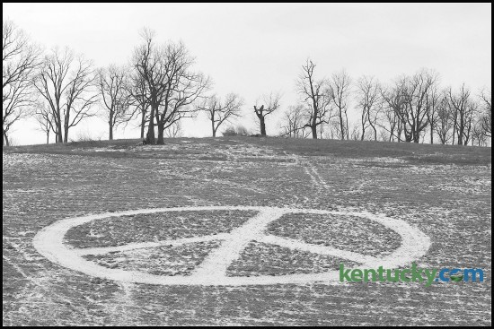 The peace sign that for years has been mowed in the grass on a farm hillside off Versailles Road just west of the Blue Grass Airport, was extremely visible with recent snowfalls in Lexington on Thursday, Feb., 14, 2008. The land is now owned by Blue Grass Airport and the peace sign is no longer in the grass.  Photo by Charles Bertram | Staff